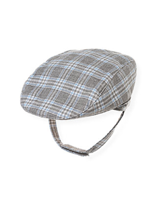 Baby Boy Soft Blue Plaid Plaid Twill Cap at JanieandJack