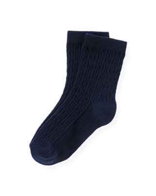 Boys Classic Navy Cable Sock at JanieandJack