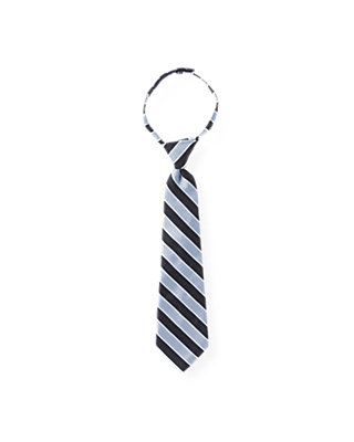 Boys Classic Navy & Grey Stripe Stripe Tie at JanieandJack