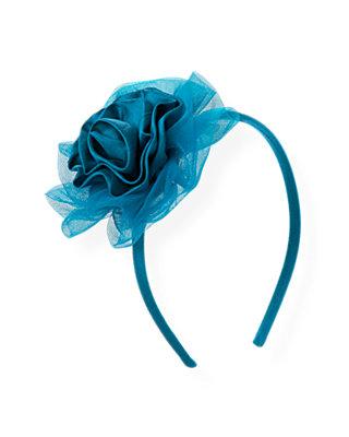 Sapphire Blue Tulle Rosette Headband at JanieandJack