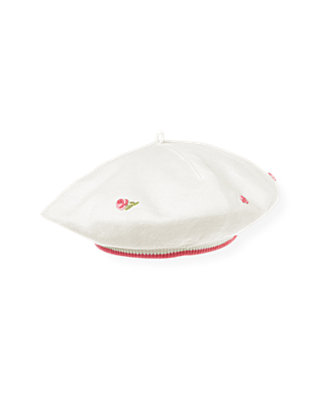 Jet Ivory Hand-Embroidered Rose Sweater Beret at JanieandJack