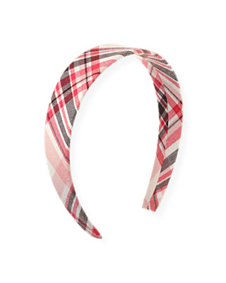 Classic Pink Plaid Plaid Headband at JanieandJack