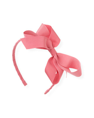 Rose Pink Grosgrain Ribbon Bow Headband at JanieandJack