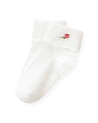 Jet Ivory Hand-Embroidered Rose Sock at JanieandJack