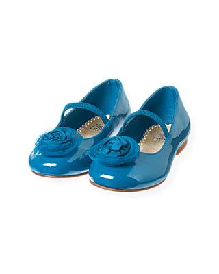 Sapphire Blue Tulle Rosette Silk Shoe at JanieandJack