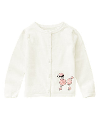 Jet Ivory Hand-Embroidered Poodle Cardigan at JanieandJack