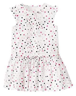 Parisian Pink Dot Pintucked Dot Dress at JanieandJack