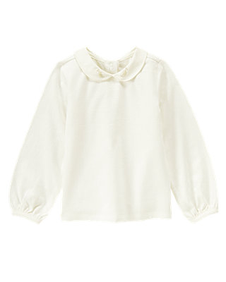Jet Ivory Embroidered Collar Top at JanieandJack