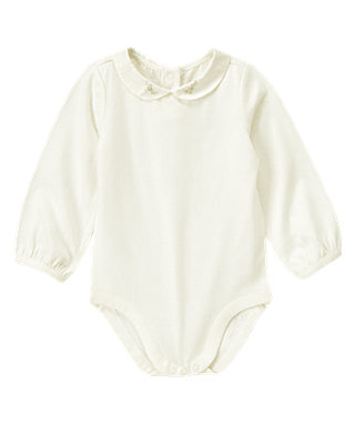Jet Ivory Embroidered Collar Bodysuit at JanieandJack