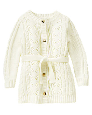 Jet Ivory Pointelle Sweater Duster at JanieandJack