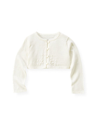 Jet Ivory Hand-Embroidered Crop Cardigan at JanieandJack