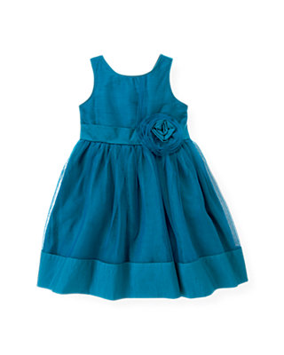Sapphire Blue Tulle Rosette Silk Dress at JanieandJack