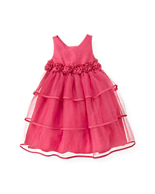 Ruby Pink Silk Rosette Tiered Dress at JanieandJack