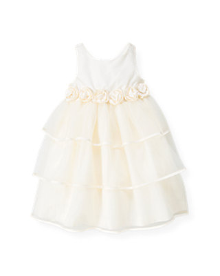 Jet Ivory Silk Rosette Tiered Dress at JanieandJack