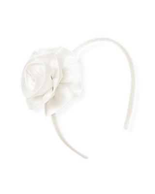 Jet Ivory Silk Rosette Headband at JanieandJack