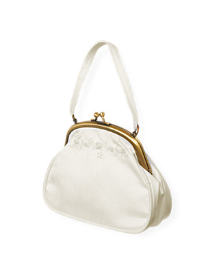 Jet Ivory Hand-Embroidered Silk Purse at JanieandJack