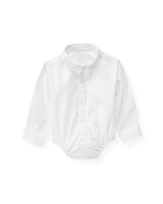 Pure White Dobby Dress Shirt Bodysuit at JanieandJack
