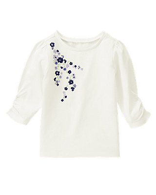 Jet Ivory Hand-Embroidered Blossom Top at JanieandJack