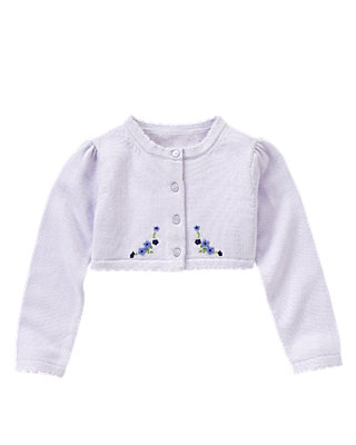 Lavender Hand-Embroidered Crop Cardigan at JanieandJack