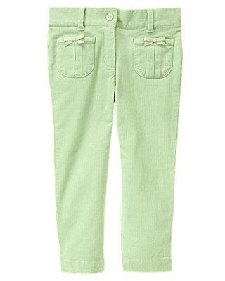 Mint Green Bow Pocket Corduroy Pant at JanieandJack