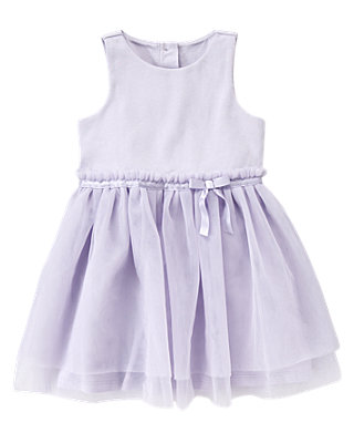Lavender Ponte Ribbon Tulle Dress at JanieandJack