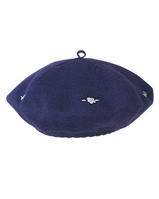 Deep Violet Hand-Embroidered Sweater Beret at JanieandJack