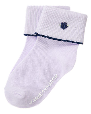 Lavender Hand-Embroidered Sock at JanieandJack