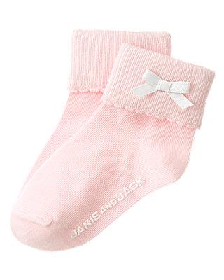 Pink Bow Scalloped Sock at JanieandJack