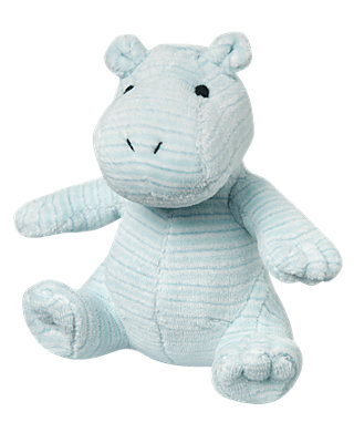 Hippo Blue Stripe Stripe Velour Hippo Rattle at JanieandJack