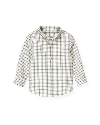 Pine Green Check Tattersall Shirt at JanieandJack