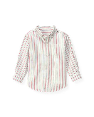 White Stripe Dobby Stripe Shirt at JanieandJack