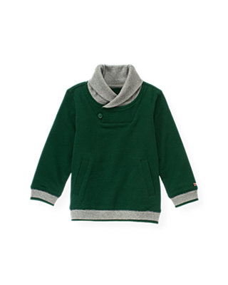 Pine Green Shawl Collar Terry Pullover at JanieandJack
