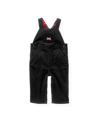 Boys Black Train Corduroy Overall at JanieandJack