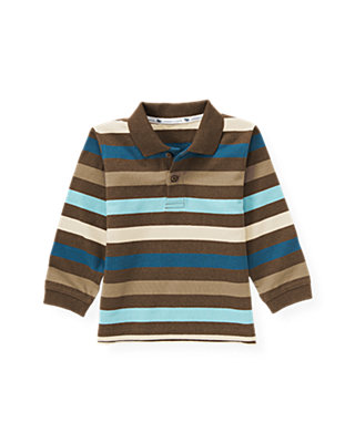 Heathered Brown Stripe Stripe Polo Shirt at JanieandJack
