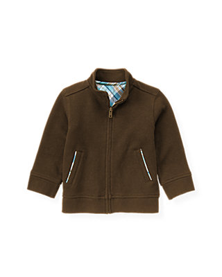 Autumn Brown Zip Cardigan at JanieandJack