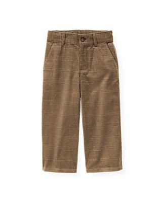 Walnut Brown Plaid Plaid Corduroy Pant at JanieandJack