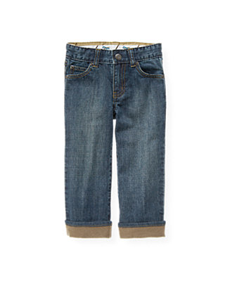 Medium Indigo Wash Cuffed Denim Jean at JanieandJack