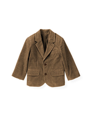 Walnut Brown Plaid Plaid Corduroy Blazer at JanieandJack