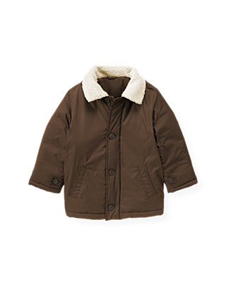 Autumn Brown Sherpa Collar Jacket at JanieandJack