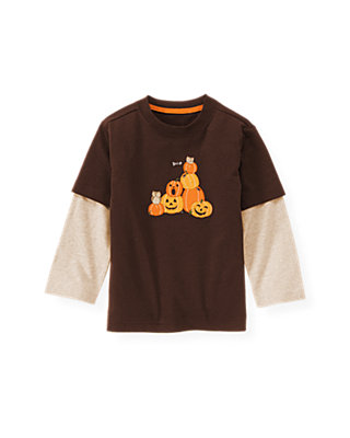 Harvest Brown Double Sleeve Pumpkin Tee at JanieandJack