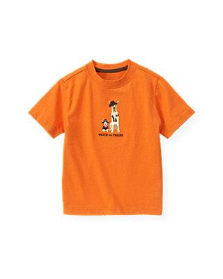 Pumpkin Orange Trick Or Treat Dog Tee at JanieandJack