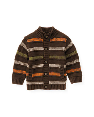 Harvest Brown Stripe Stripe Sweater Cardigan at JanieandJack