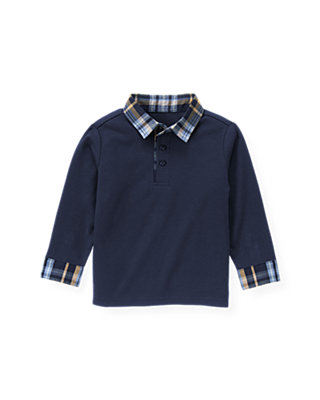 Classic Navy Plaid Collar Polo Shirt at JanieandJack