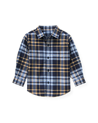 Classic Navy Plaid Glen Plaid Shirt at JanieandJack