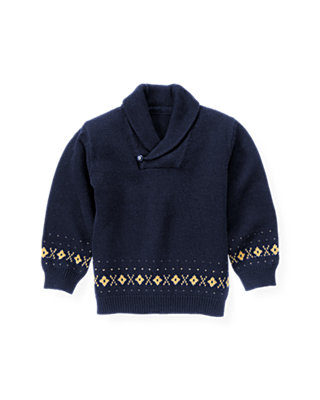 Classic Navy Shawl Collar Fair Isle Sweater at JanieandJack