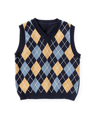 Classic Navy Diamond Sweater Vest at JanieandJack