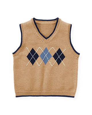 Camel Argyle Sweater Vest at JanieandJack