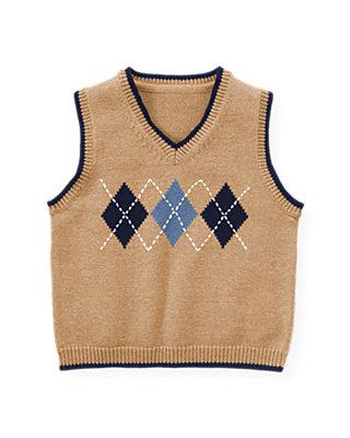 Camel Argyle Sweater Vest at JanieandJack