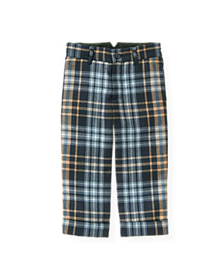Classic Navy Plaid Glen Plaid Wool Suit Trouser at JanieandJack