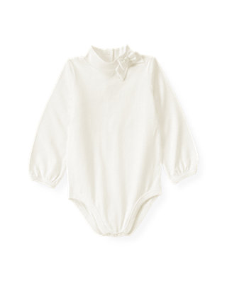 Jet Ivory Bow Turtleneck Bodysuit at JanieandJack